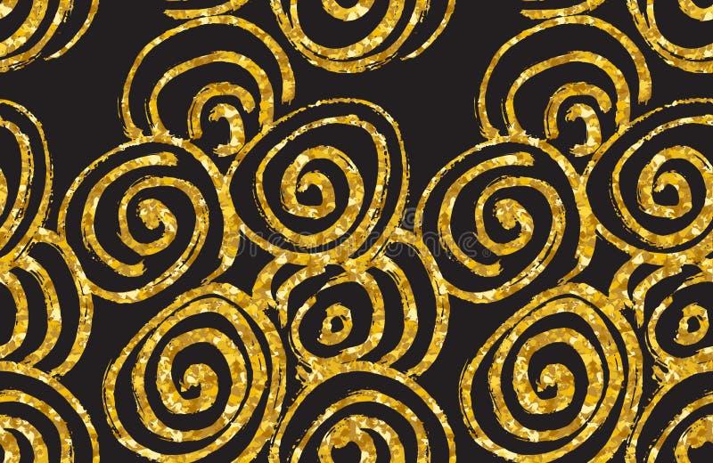 手拉的无缝的金子闪烁样式 抽象螺旋无缝的样式,传染媒介例证 库存例证