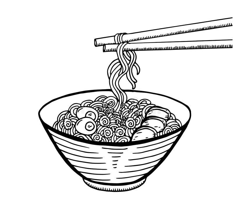 手拉的日本料理剪影例证 减速火箭的样式 库存例证