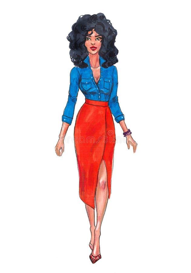 手拉的时尚女孩例证 在橙色裙子的时装模特儿 时髦的成套装备 动画片女性角色 向量例证