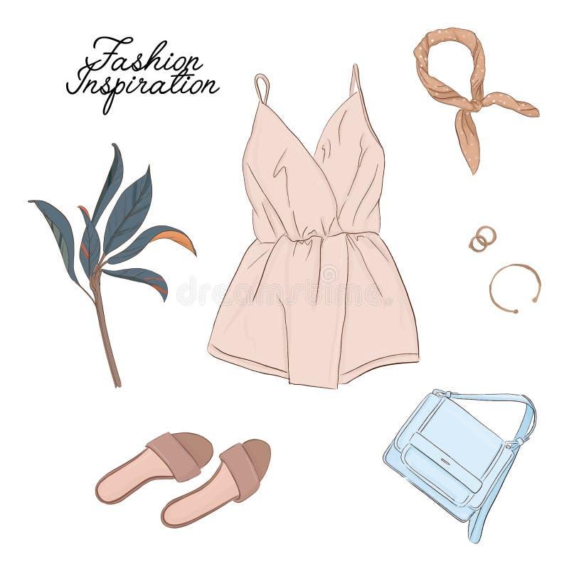 手拉的时尚妇女衣裳 辅助部件水彩剪影 成套装备现代例证 式样夏天美好的样式 向量例证