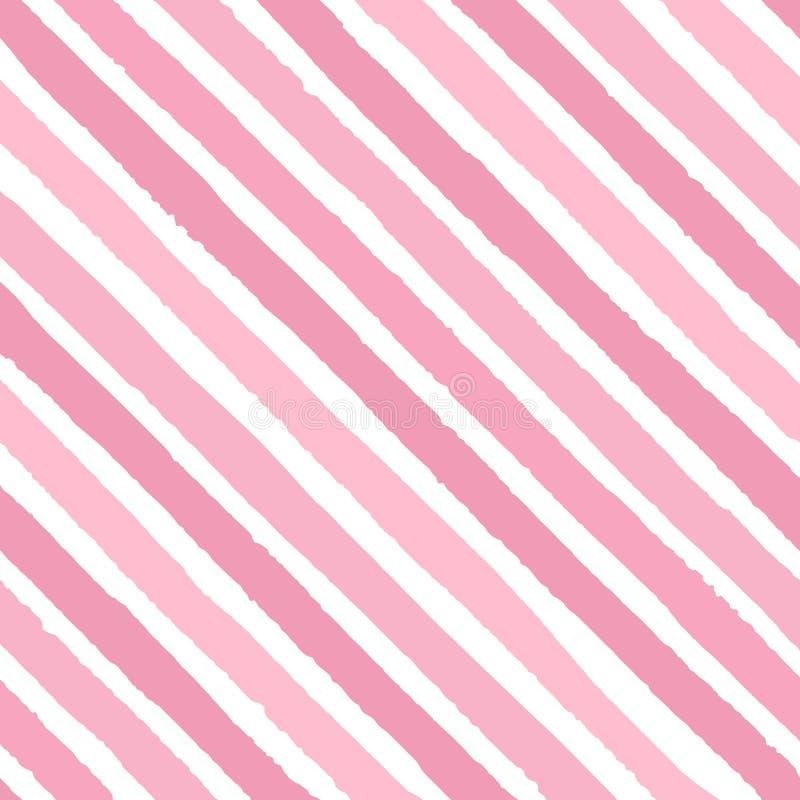 手拉的明亮的桃红色传染媒介对角难看的东西条纹上色在白色背景的无缝的样式 库存例证