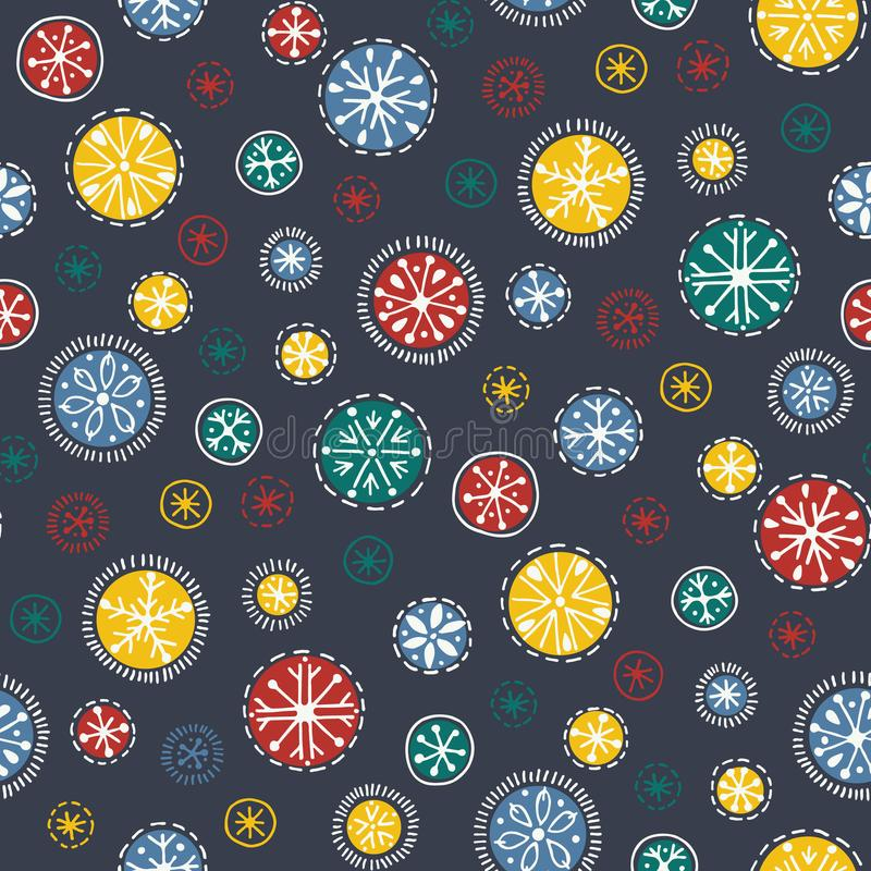 手拉的明亮的漂泊圣诞节雪花导航无缝的样式背景 寒假被手工造的印刷品 向量例证