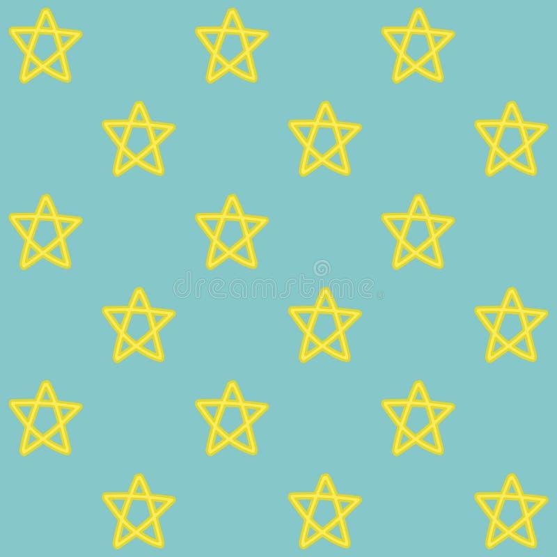 手拉的星无缝的样式 皇族释放例证