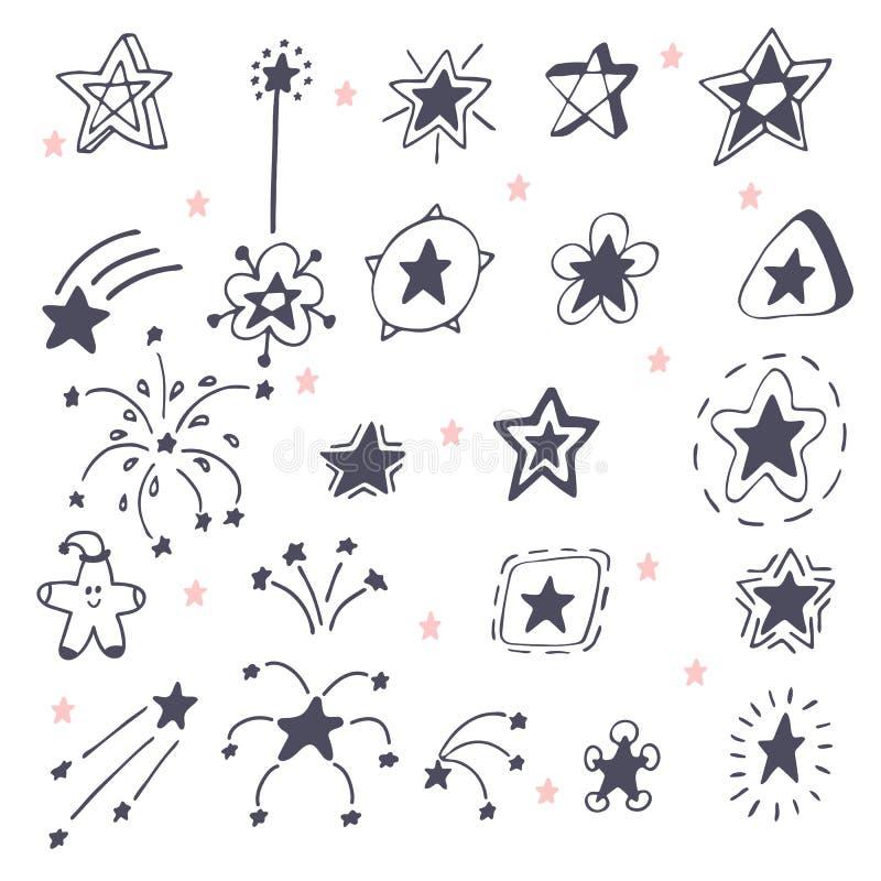 手拉的星的汇集 乱画星和烟花 库存例证