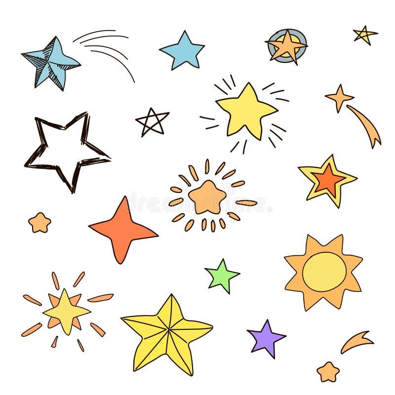 手拉的星的汇集以各种各样的形状 皇族释放例证