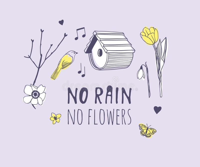 手拉的春天时尚例证对象和引述雨,没有花 在紫罗兰色背景的实际季节传染媒介 艺术性 库存例证
