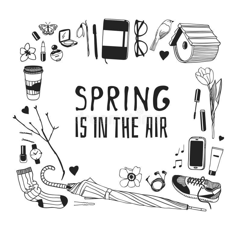 手拉的春天时尚例证穿戴和行情APRING在天空中 实际季节传染媒介背景 黑色白色 向量例证