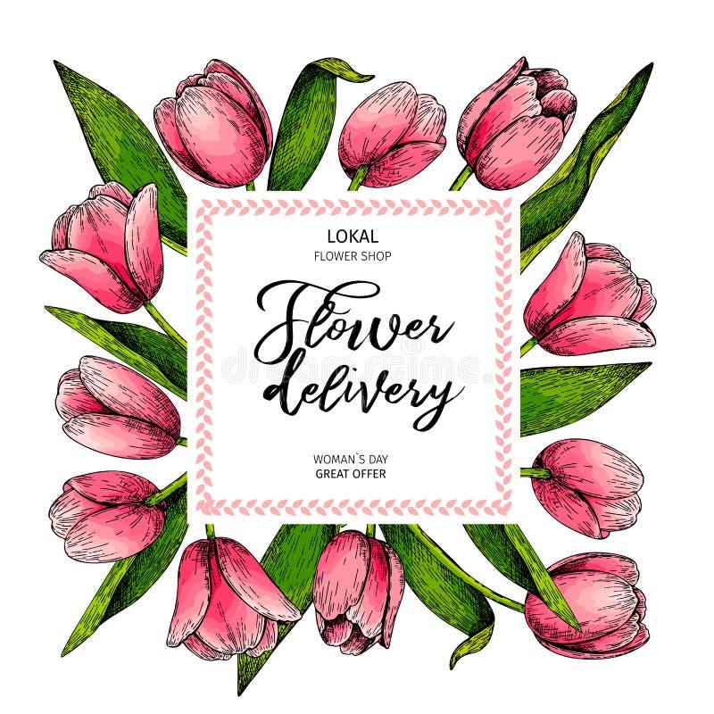 手拉的春天花卉横幅 色的桃红色郁金香 背景美好的秀丽蓝色束发运花女花童藏品包括日本玫瑰射击了微笑的惊人年轻人 手拉的详细的被刻记的例证 好 库存例证