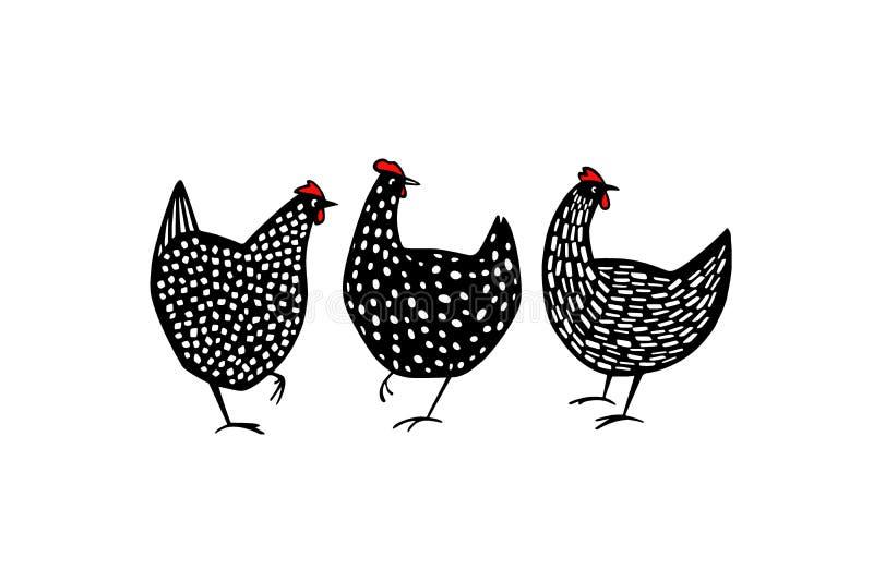 手拉的有斑点的母鸡 向量例证