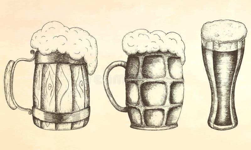 手拉的杯子啤酒 向量例证