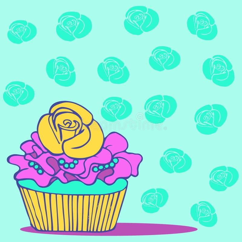 手拉的杯形蛋糕卡片邀请救球日期婚礼 向量例证