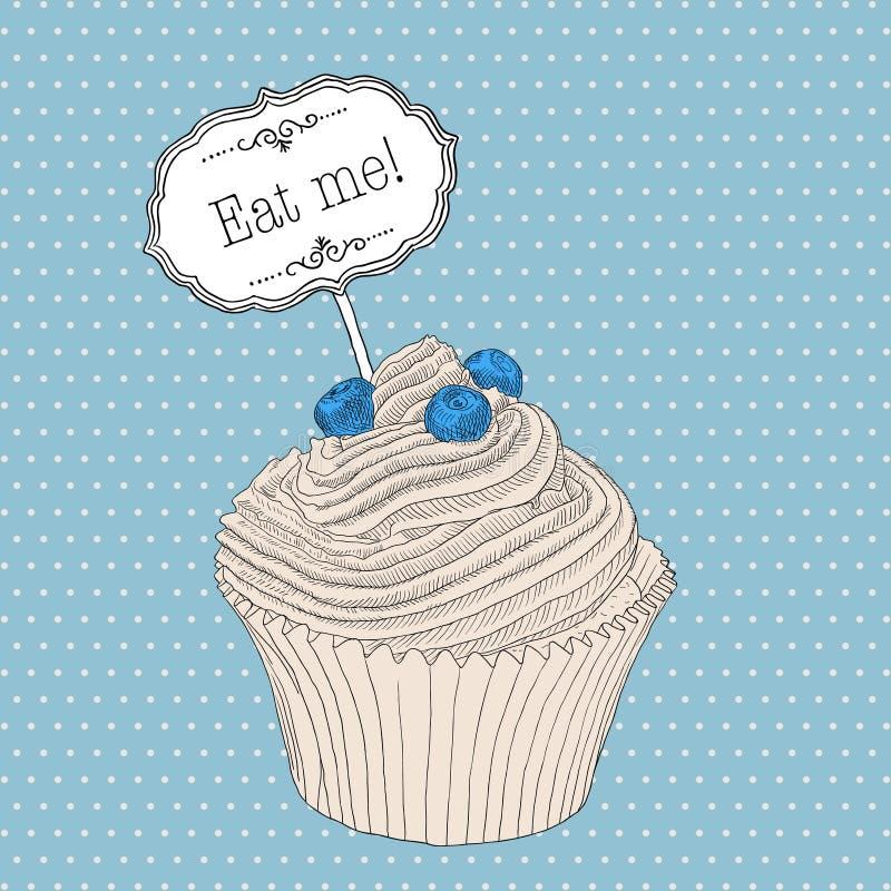 手拉的杯形蛋糕用蓝莓和黑板吃我! 库存例证