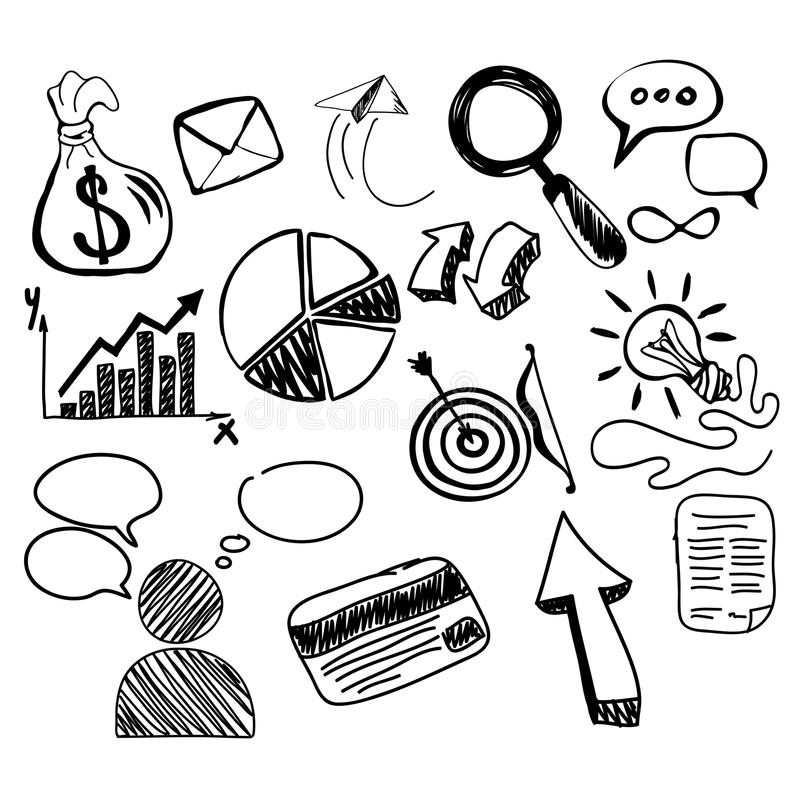 手拉的查寻新的企业元素 向量例证