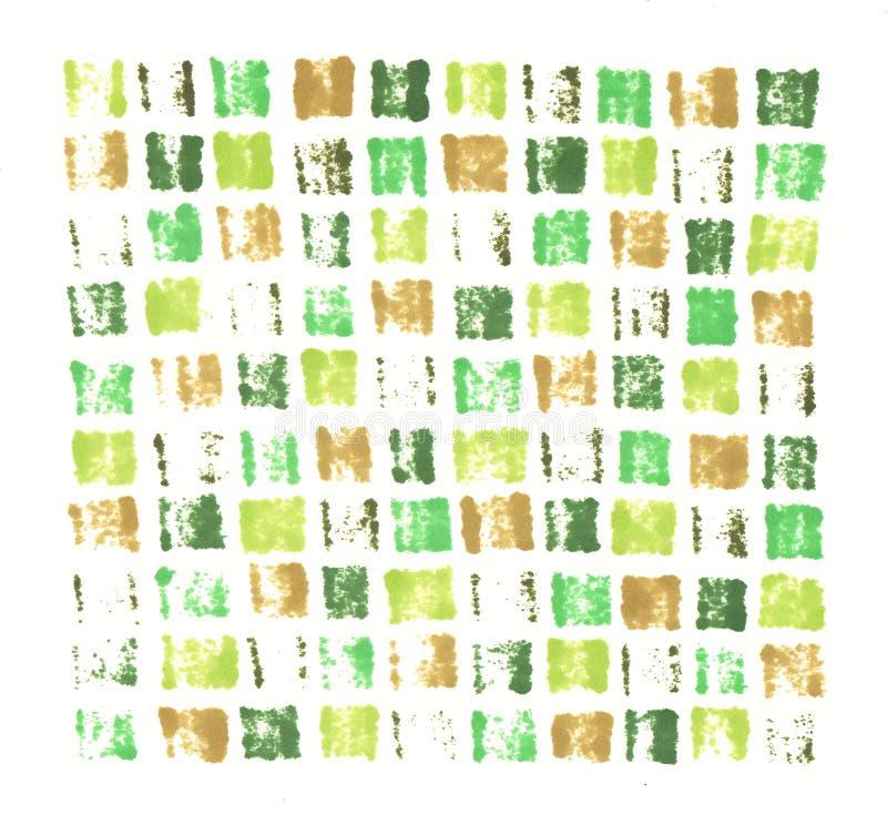 手拉的标志摘要版本记录绿色卡其色的锦砖背景 库存例证