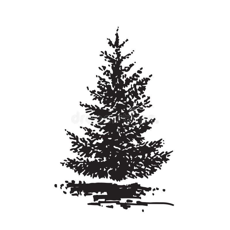 手拉的树,冷杉 黑白现实图象,剪影绘与墨水刷子 库存例证