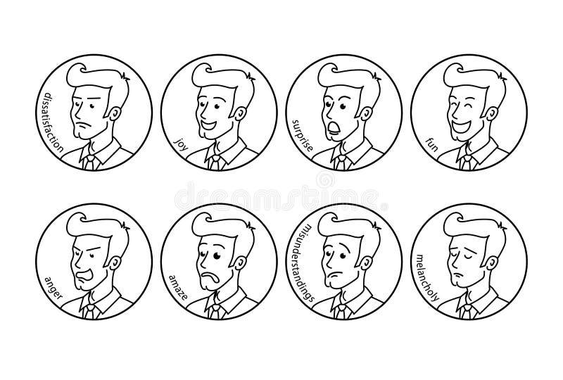 手拉的样式传染媒介乱画设计例证在动画片样式排行 套男性面部情感 有胡子的人emoji characte 皇族释放例证