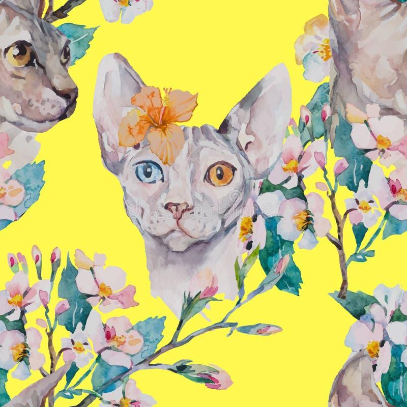 手拉的样式典雅的Sphynx猫和热带花 猫时尚画象  狮身人面象 可用的背景黑色蓝色生长留给模式红色春天数据条向量空白宽 开花 向量例证