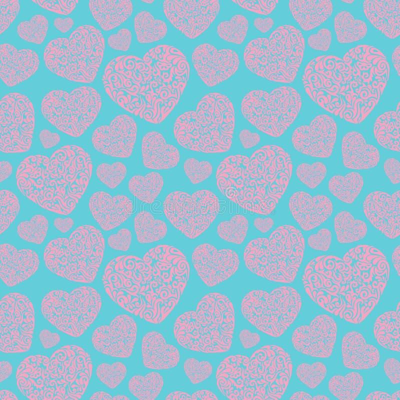 手拉的桃红色部族在蓝色背景的心脏无缝的样式织品、布料、印刷品、纺织品、backsplash和包装纸的 库存例证