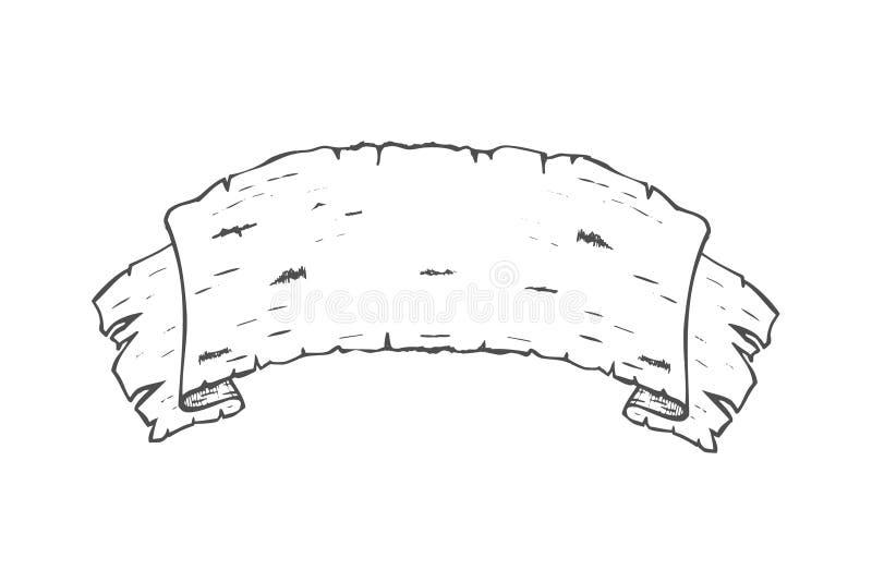 手拉的横幅由白桦树皮制成 向量例证