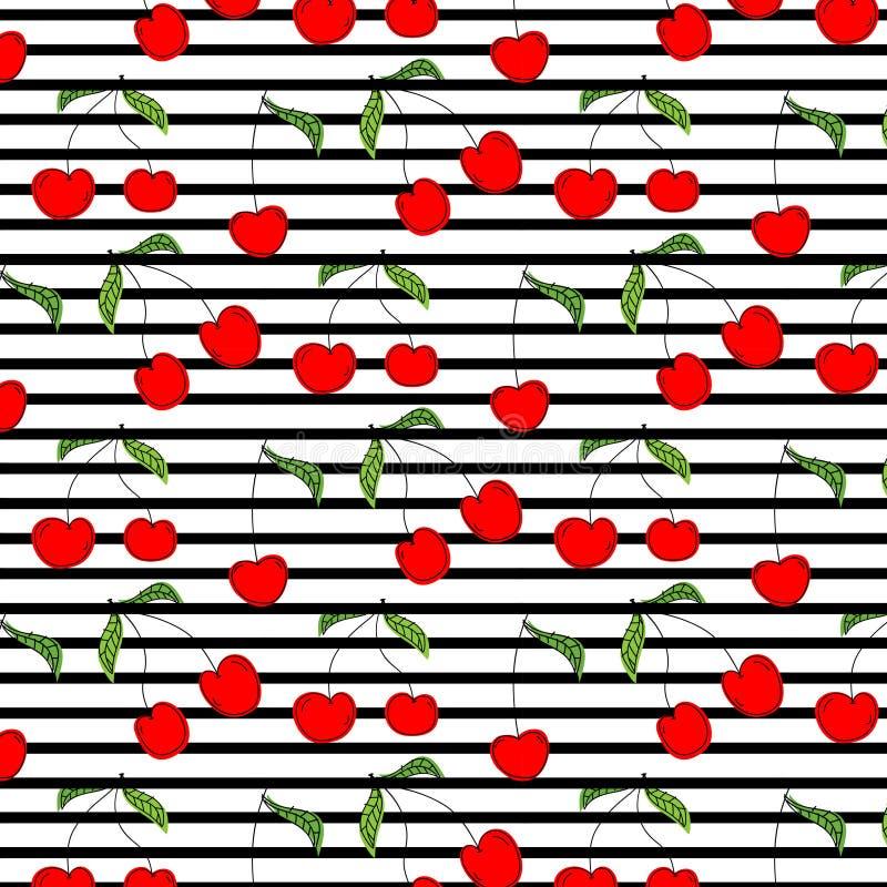 手拉的樱桃样式传染媒介例证背景 库存例证