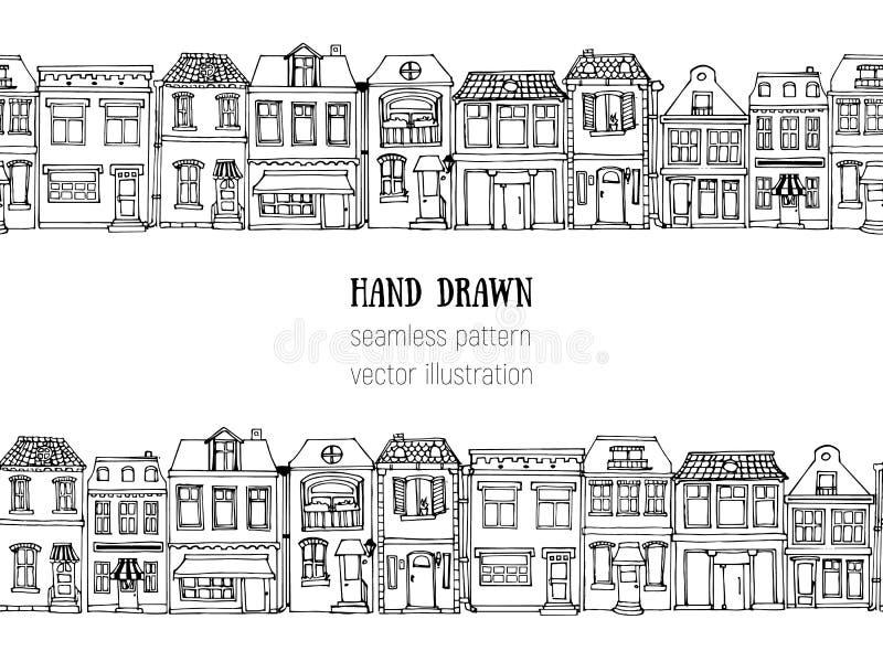 手拉的欧洲城市安置水平的无缝的样式 逗人喜爱的动画片样式传染媒介例证 五颜六色的现代连栋房屋Bu 库存例证