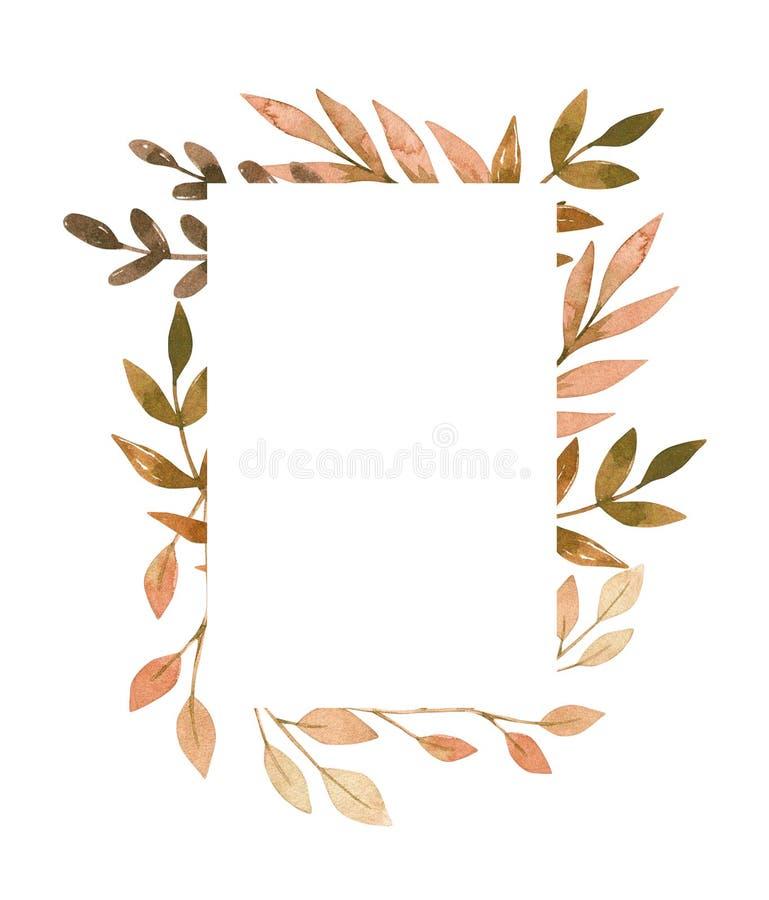 手拉的水彩例证 与秋天叶子的框架, spru 向量例证