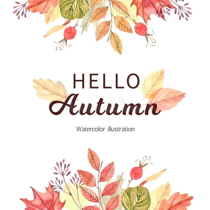 手拉的水彩例证 与秋天叶子的框架 前面 库存例证
