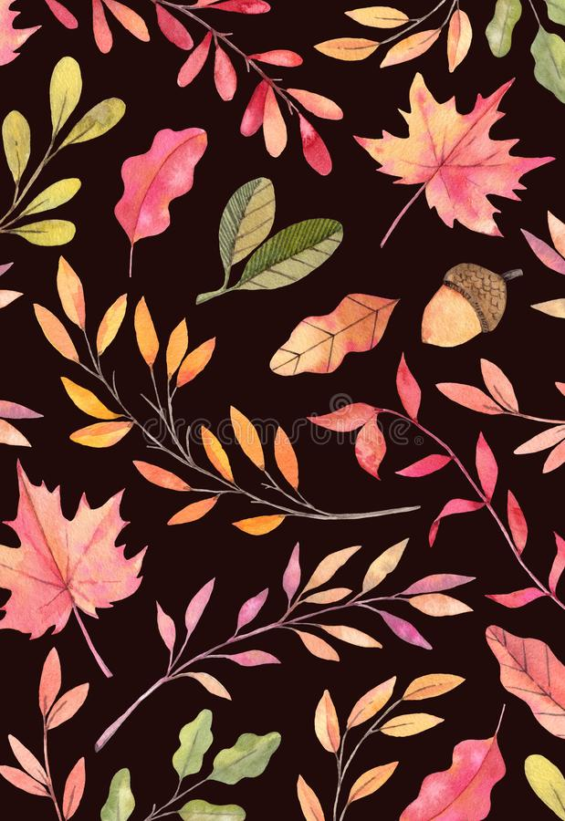 手拉的水彩例证 与秋天叶子的背景 向量例证