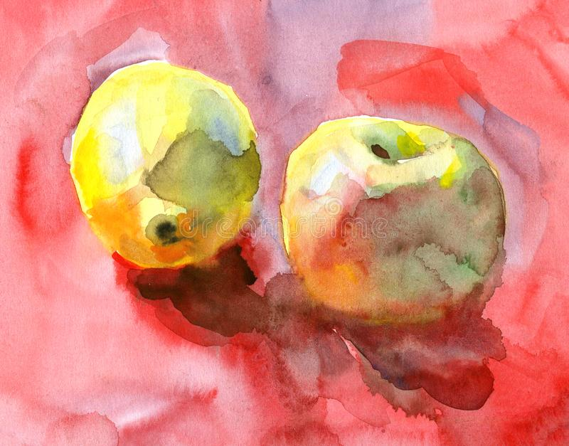 手拉的水彩剪影用在红色背景的苹果 与油漆飞溅的艺术性的果子背景 皇族释放例证
