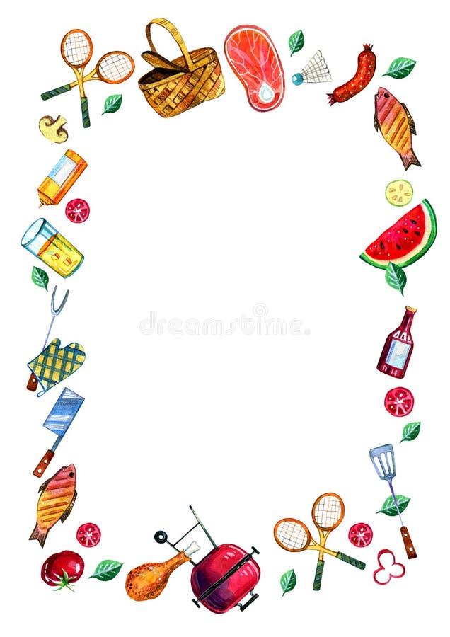 手拉的水彩套出去吃饭野餐、的夏天和烤肉的各种各样的对象在垂直的长方形框架 向量例证