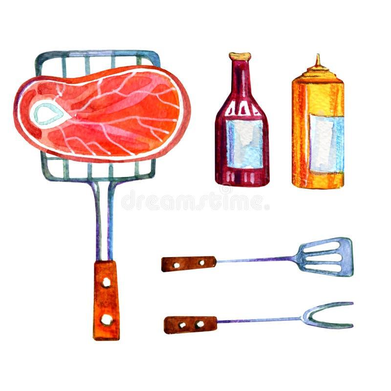 手拉的水彩套出去吃饭野餐、的夏天和烤肉的各种各样的对象-肉和调味汁 免版税库存照片