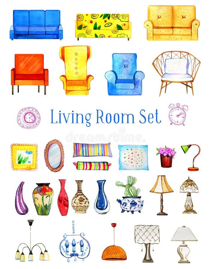 手拉的水彩套风格化家具和对象客厅的 皇族释放例证