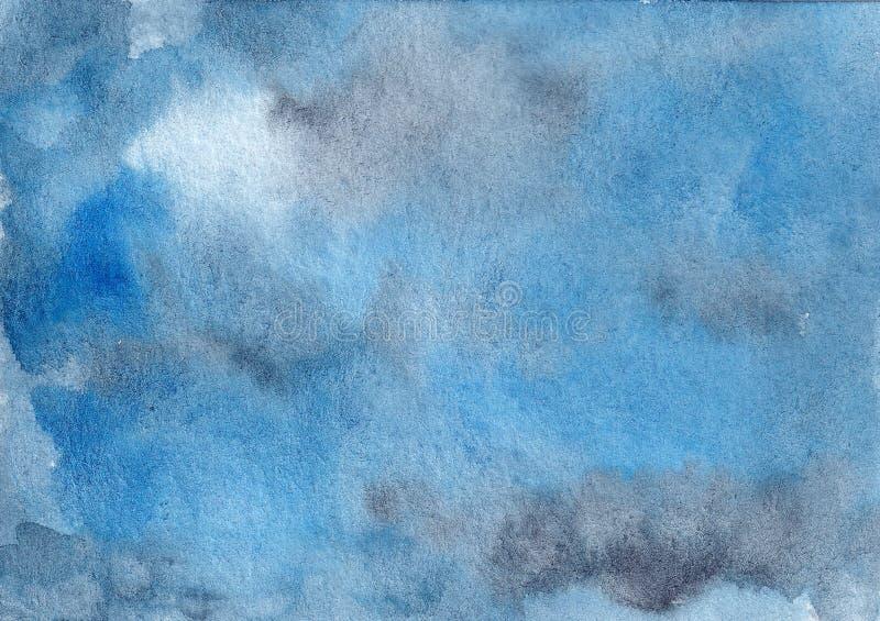 手拉的水彩摘要蓝色和灰色背景 皇族释放例证