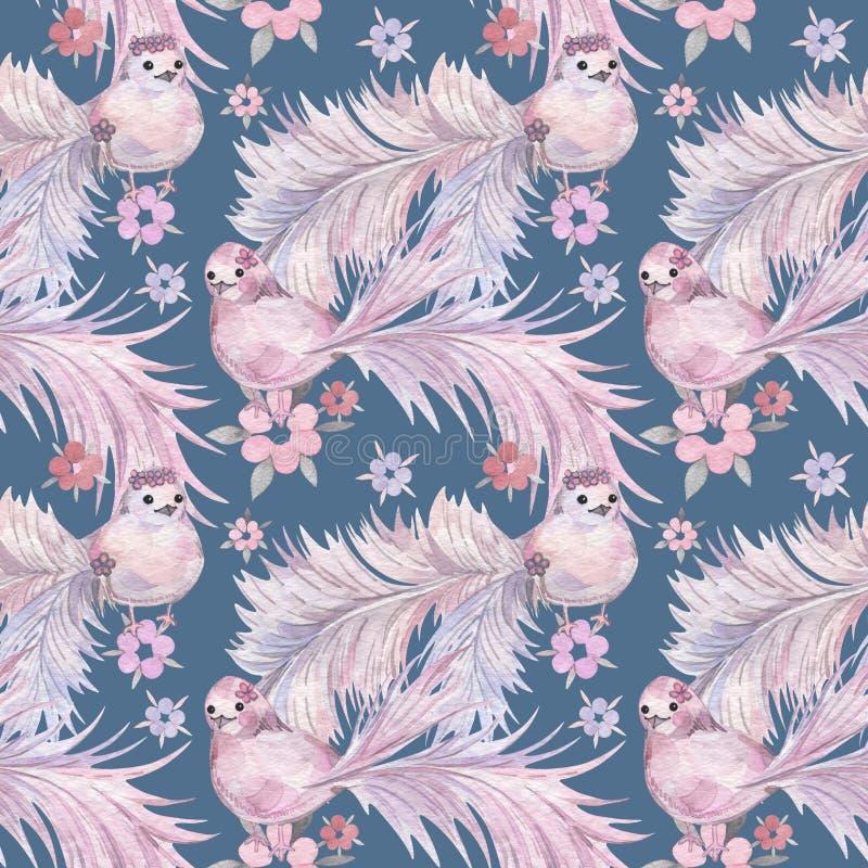 手拉的水彩无缝的样式 婴孩墙纸 与冷淡的尾巴的动画片鸟 皇族释放例证
