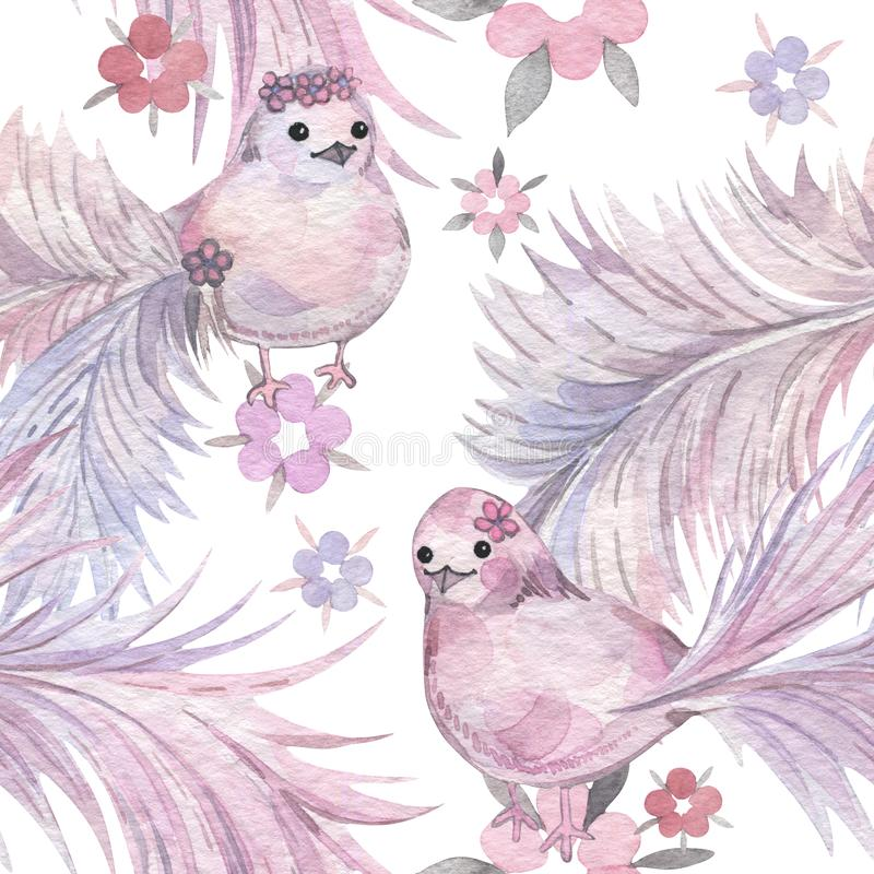 手拉的水彩无缝的样式 婴孩墙纸 与冷淡的尾巴的动画片鸟 库存例证