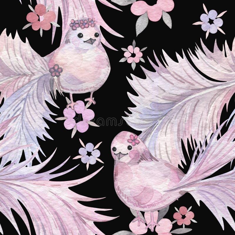 手拉的水彩无缝的样式 婴孩墙纸 与冷淡的尾巴的动画片鸟 向量例证