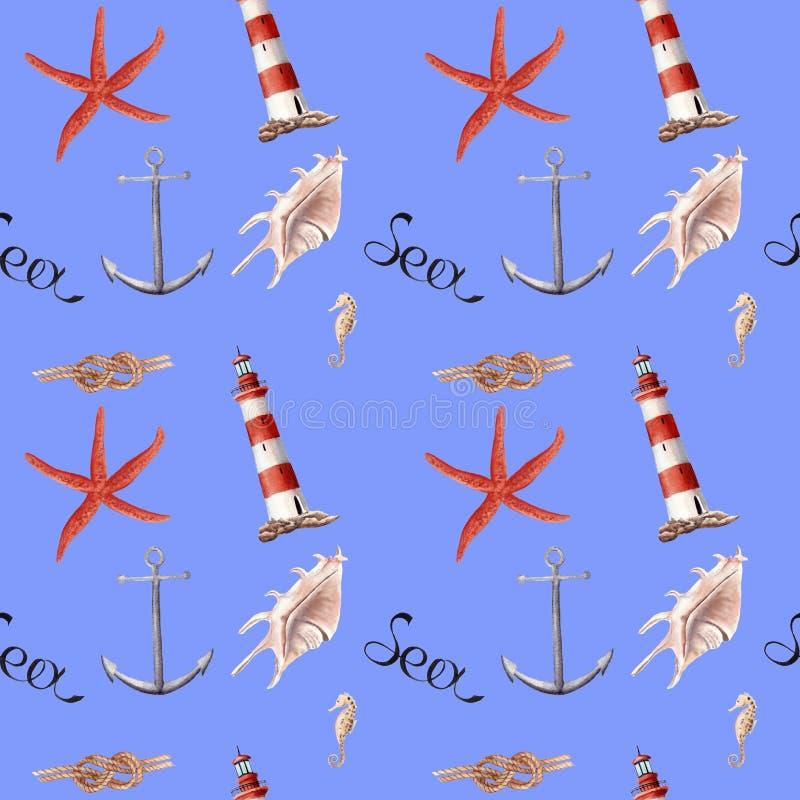 手拉的水彩无缝patern与灯塔、海星和壳 向量例证