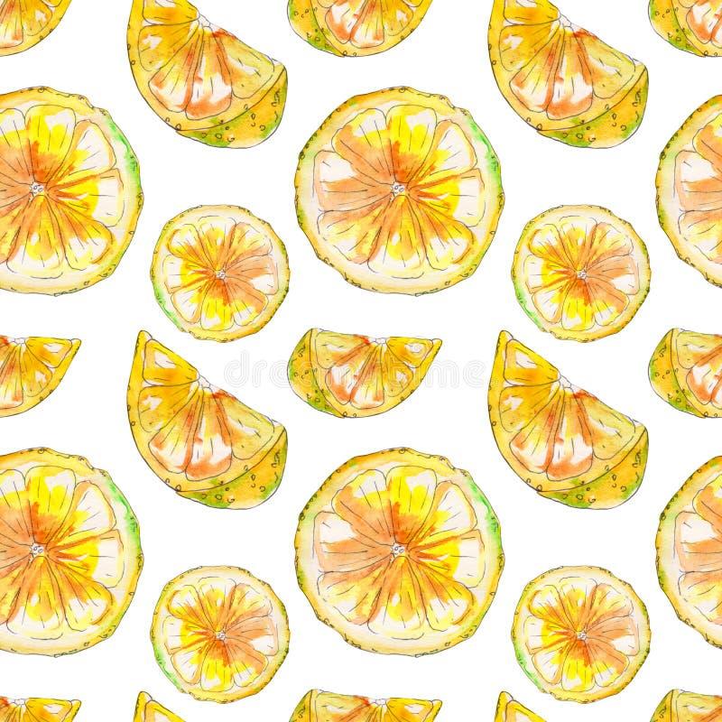手拉的水彩柠檬无缝的样式 库存例证