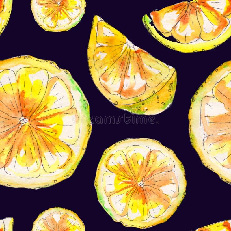 手拉的水彩柠檬无缝的样式 皇族释放例证