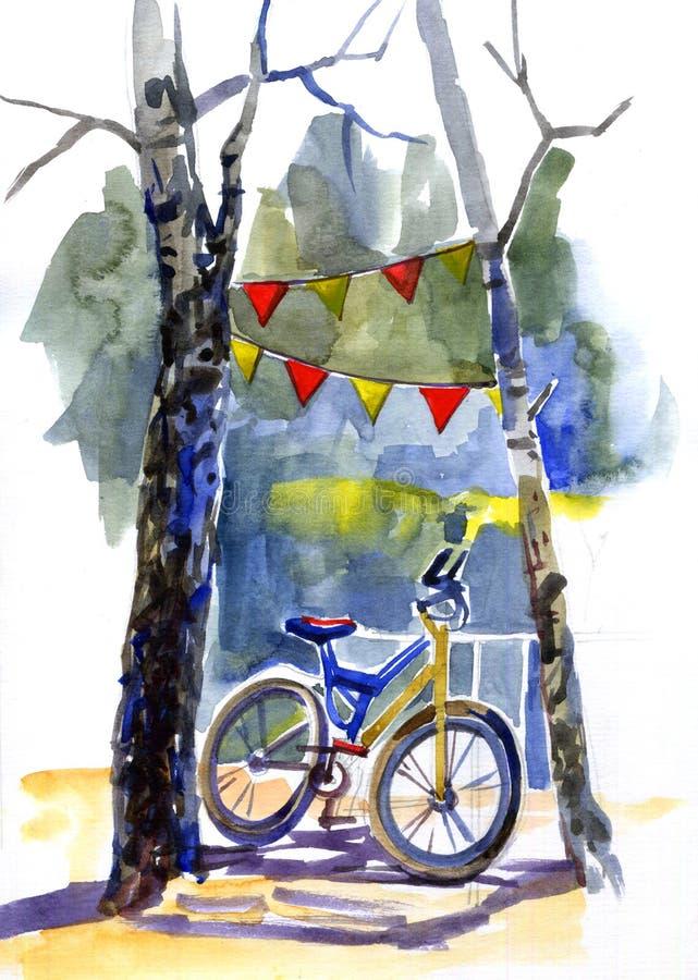 手拉的水彩浪漫树、自行车和旗子诗歌选 向量例证