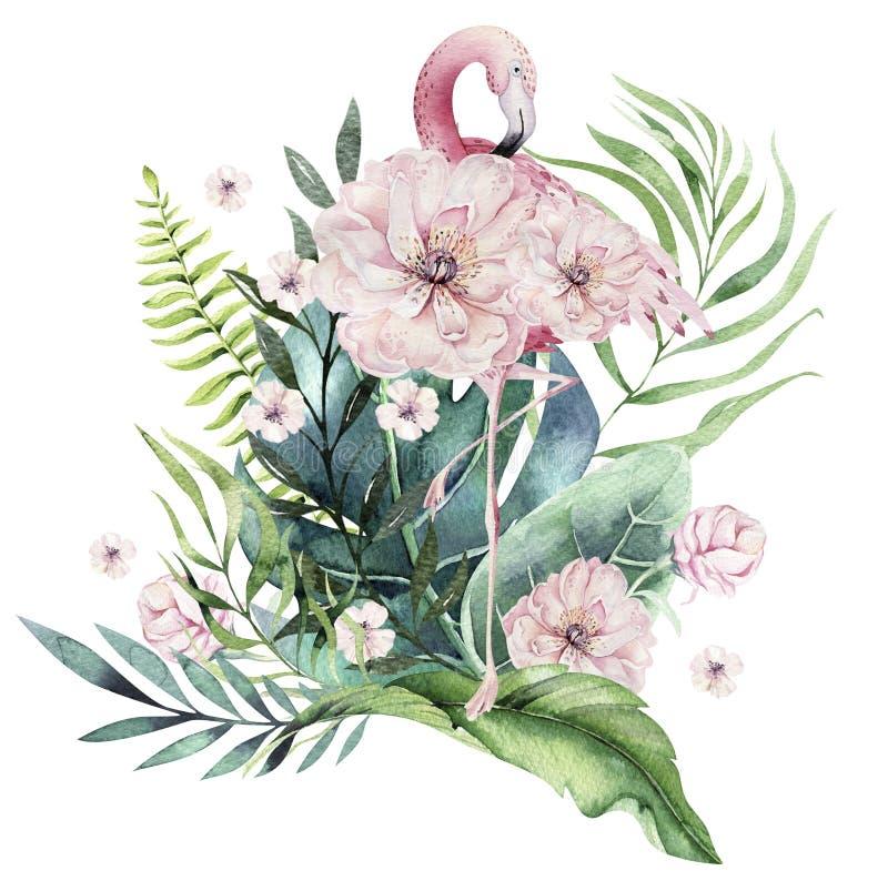 手拉的水彩热带鸟套与叶子的火鸟 异乎寻常的玫瑰色鸟例证,密林树叶子 向量例证