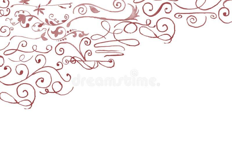 手拉的水彩画花卉壁角装饰 库存图片