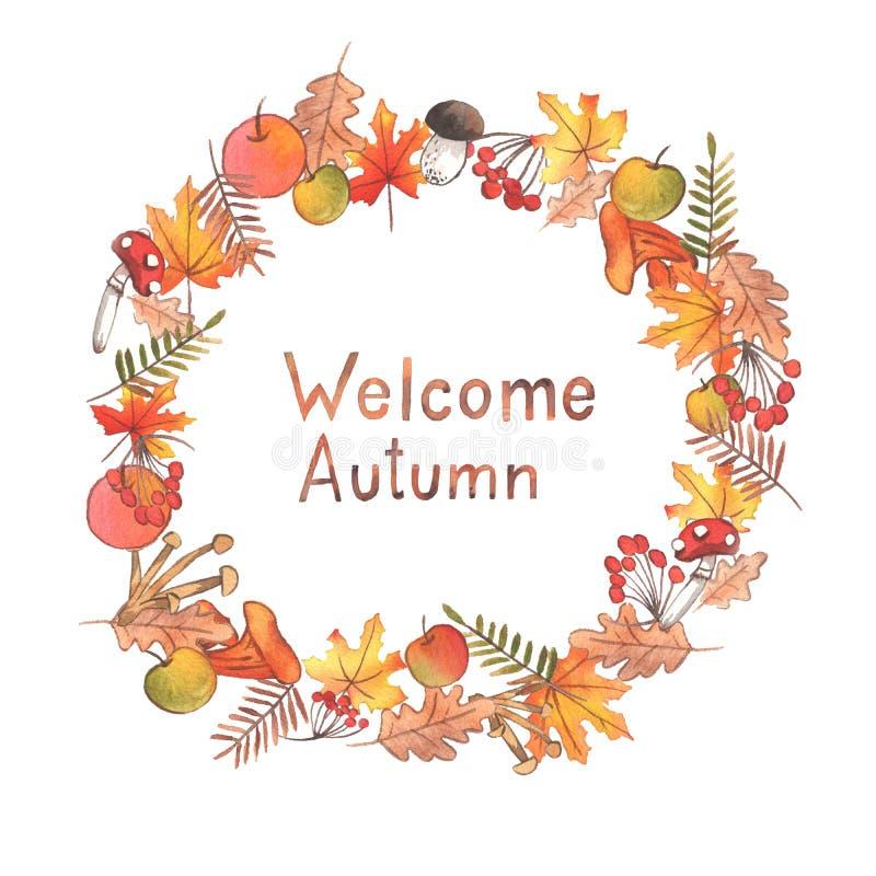 手拉的水彩秋天例证 与字法的美丽的花圈 向量例证