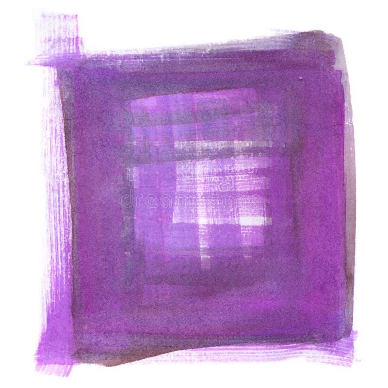 手拉的水彩绘画,艺术性的被摆正的背景的紫罗兰色和紫色抽象例证 库存例证