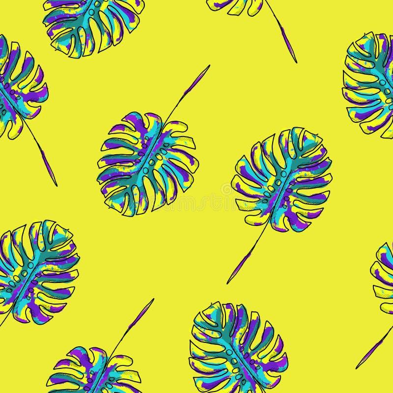 手拉的水彩美好和时髦热带夏威夷人开花无缝的样式传染媒介 向量例证