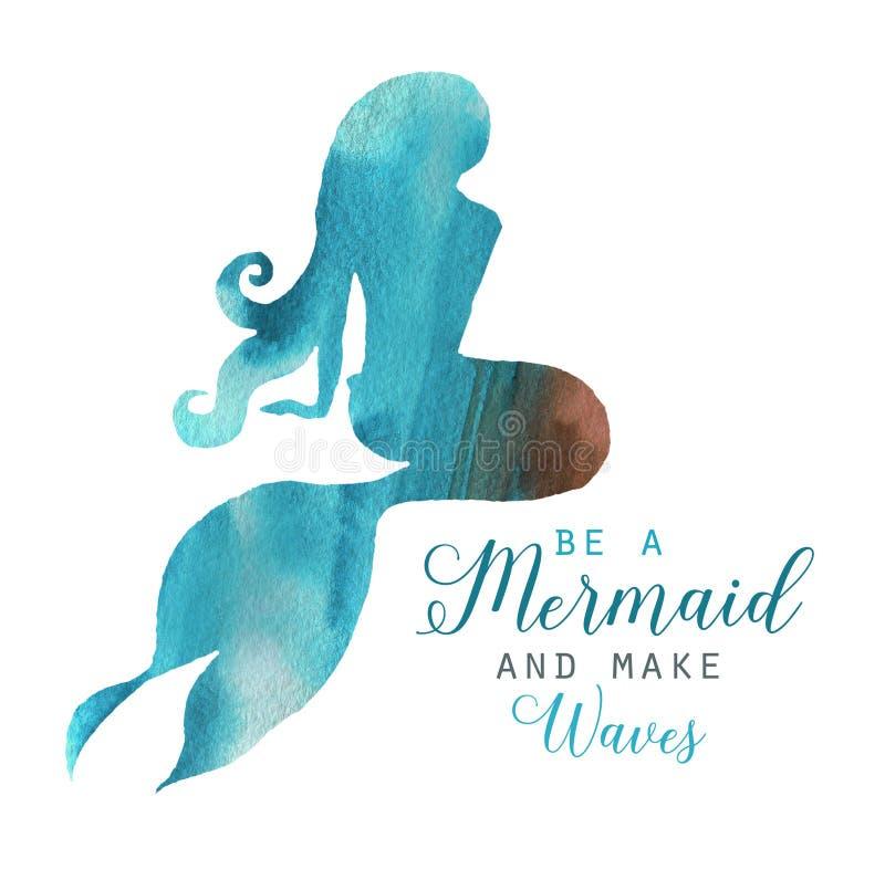 手拉的水彩美好的美人鱼字符例证 向量例证