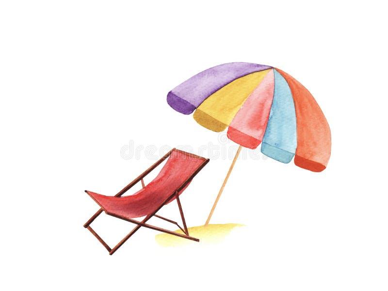 手拉的水彩躺椅和伞 皇族释放例证