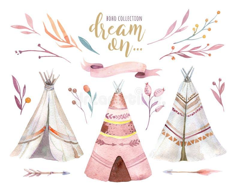 手拉的水彩部族圆锥形帐蓬,被隔绝的露营地帐篷 Boho美国传统当地装饰品圆锥形小屋 印第安语 库存例证