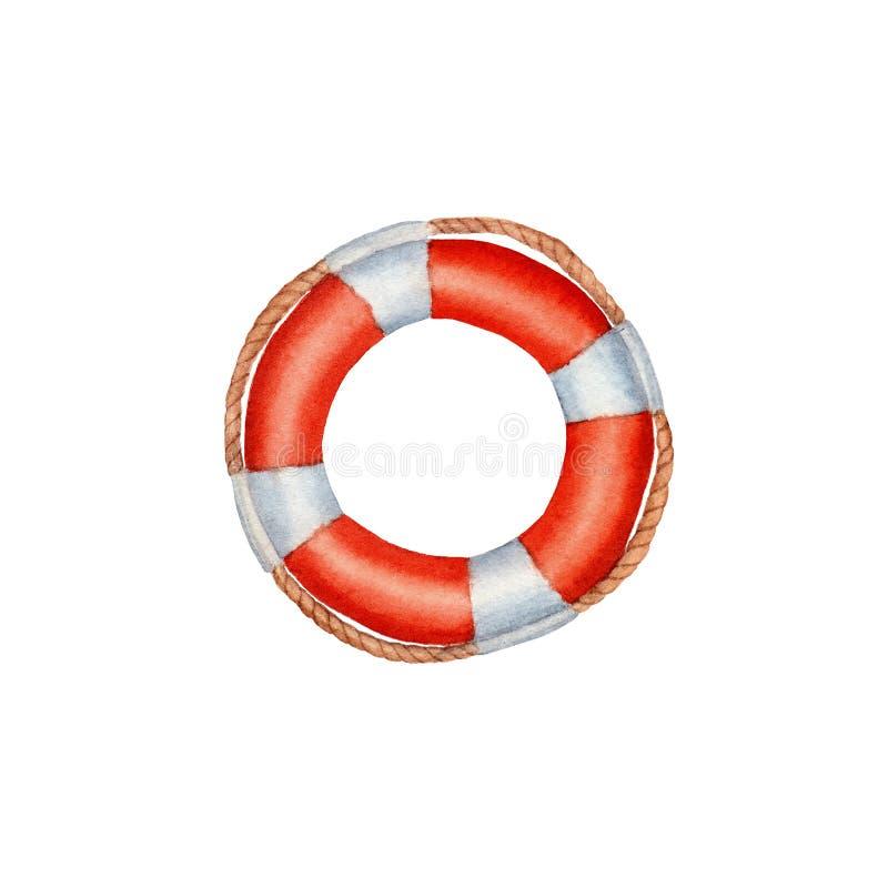 手拉的水彩Lifebuoy隔绝了 皇族释放例证