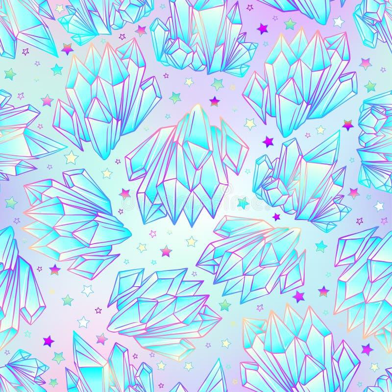 手拉的水晶宝石无缝的样式 几何发光的gemston 向量例证